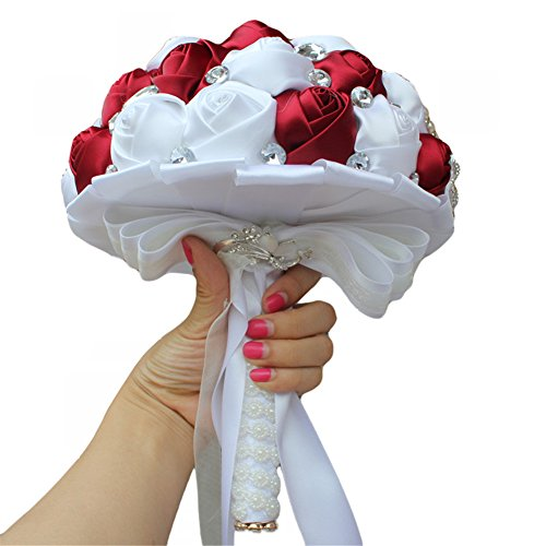 Wedding Flowers Bridal Bouquets Romantic Bride Bridesmaid Wedding Holding Toss Crystal Sparkle Bouquet Rose with Pearls and Rhinestone Decorative Brooches Accessories