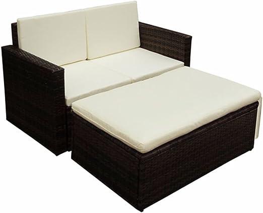 tiauant Mobiliario Mobiliario de Exterior Conjuntos de mobiliario de Exterior Set de Sofa de Jardin 7 Piezas Poli Ratan Marron Conjunto de Acero inoxidableGrosor del cojin: 5 cm: Amazon.es: Jardín