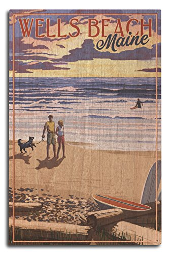 Lantern Press Wells Beach, Maine - Beach Scene and Surfers Walk at Sunset (10x15 Wood Wall Sign, Wall Decor Ready to - Sign Surfer Wood
