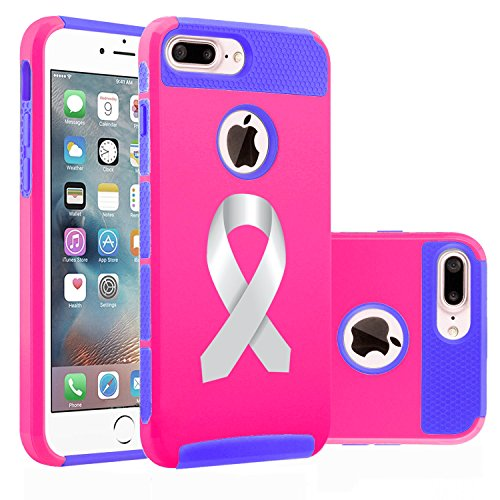 Apple iPhone (7 Plus) Shockproof Impact Hard Soft Case Cover Diabetes Brain Cancer Parkinson's Disease Lung Cancer Color Awareness Ribbon (Hot Pink-Blue)