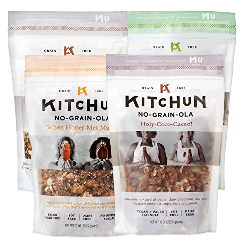KITCHUN No-Grain-Ola, Variety Pack, 10 Ounce (Pack of 4) (4 Grain Maple)