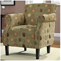 Living Room Furniture Accent Chair Green with Brown Modern Design, Perfect to Update Your Room