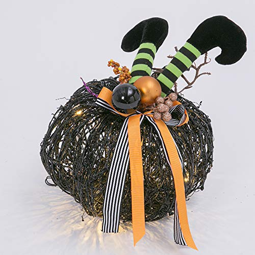 One Holiday Way Whimsical Lighted Twig and Vine Pumpkin with Witch Legs - Tabletop Halloween