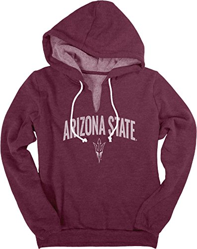 (NCAA Arizona State Sun Devils Women's Heritage Fleece V-Notch Hood Shirt, Large, Maroon)