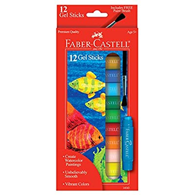 Faber Castell Gel Sticks - 12 Twistable Watercolor Crayons for Kids with Brush - Watercolors for Kids: Toys & Games