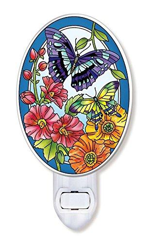 Amiaバタフライと花柄ガラスナイトライト、6インチ、マルチカラー B079Z43MHB 11768