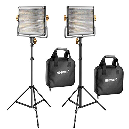 Neewer 2 Packs Dimmable Bi-Color 480 LED Video Light and Stand Lighting Kit Includes: 3200-5600K CRI 96+ LED Panel with U Bracket, 75 inches Light Stand for YouTube Studio Photography, Video Shooting (Best Led Light Kit For Interviews)