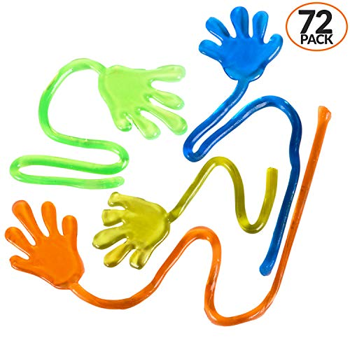 Bulk Pack Of 72 ! Glitter Sticky Hands, Stretchy Fingers With Long String In Assorted Neon Colors, A Sticky, Stretchy, Slimy, Gooey Toy, For Party Favors, Birthday, Goody Bag Filler