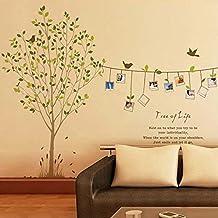 ekugo (TM) Décoration en Home Decor Stickers pour enfant Pièces Nail Art Cadre Photo Arbre Oiseaux Mur Autocollant Amovible DIY adesivo de parede