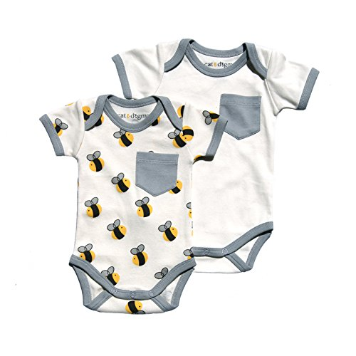 [Cat & Dogma - Certified Organic Infant/Baby Clothing Bee/Gray Bodysuit Pack (0-3 Months)] (Making Elf Costume)