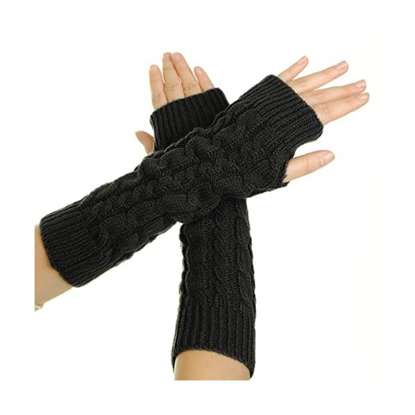 Flammi-Womens-Cable-Knit-Arm-Warmers-Fingerless-Gloves-Thumb-Hole-Gloves-Mittens