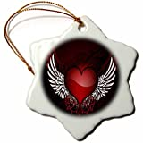 Ornaments to Paint Anne Marie Baugh - Hearts - A Glossy Red Flourish Heart With Jewels and Wings -