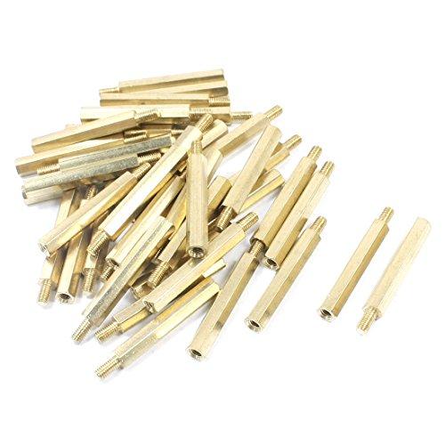 Uxcell a14050200ux0728 M3 x 30 mm x 36 mm Gold Tone Brass Pillar PCB Hexagon Standoff Spacer 40 Piece (Pillar Hexagon)