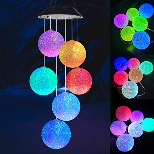 Wind chimes, Solar wind chimes, Crystal ball wind chimes,Garden decor, Gifts for mom, Color Changing Wind Chime,Waterproof Outdoor Decorative Romantic Wind Bell Light for Patio Yard Garden Home (Gardens For Gifts)
