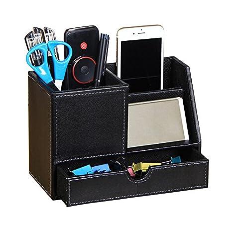 Fernbedienung Kunstleder JK Schreibtisch-Organizer Visitenkarten B/ürostifthalter Stift Aufbewahrungsbox 20 x 11.9 x 9.5 cm Schwarz ordentlich Handy