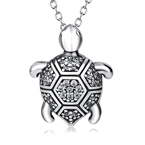 YFN Turtle Necklace Vintage Sterling Silver with Cubic Zirconia Necklace 18