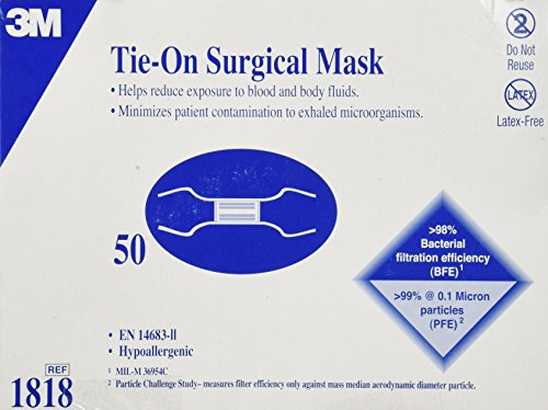 3M Tie-On Surgical Mask, Blue, 50 Count by 3M
