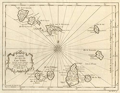 'Carte des Isles du Cap-Verd'. Cape Verde Islands. Sal Santiago. BELLIN - 1746 - Old map - Antique map - Vintage map - Printed maps of Atlantic Islands