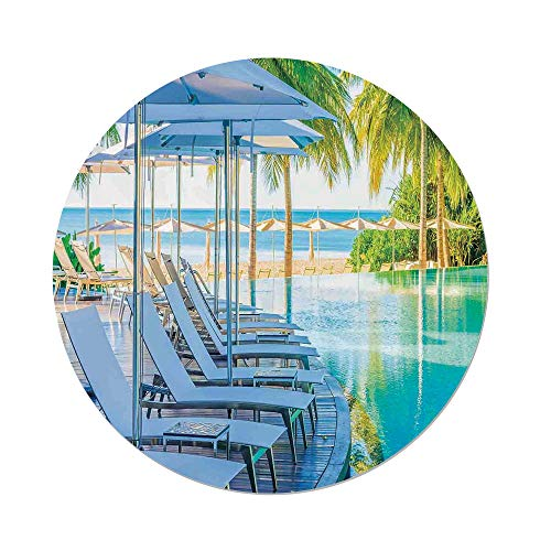 iPrint Polyester Round Tablecloth,House Decor,Luxury Hotel Pool Near Beach Palm Trees Exotic Resort Umbrella Sunbed Chair,Dining Room Kitchen Picnic Table Cloth Cover,for Outdoor Indoor