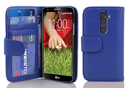 Cadorabo - Book Style Wallet Design for LG G2 with 2 Card Slots and Money Pouch - Etui Case Cover Protection in NAVY-BLUE (Beautiful Lg G2 Phone Cases)