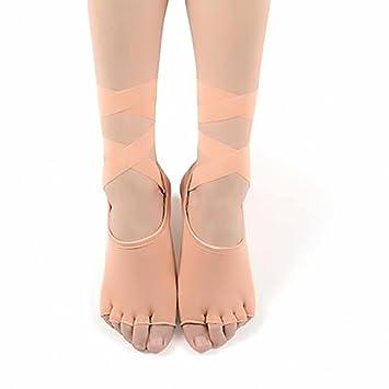 Yoga Calcetines sin dedos con banda elástica, lazo, talla única, negro, maletero