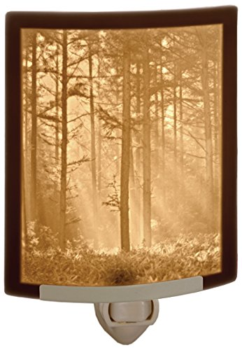 Tall Fine Porcelain - Woodland Sunbeams- Fine Porcelain Lithophane Curved Night Light