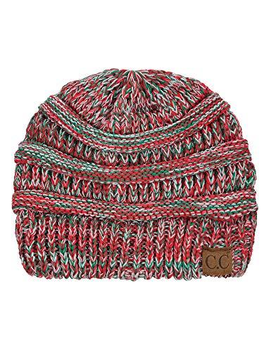 Christmas Beanie Hat - C.C Trendy Warm Chunky Soft Stretch Cable Knit Beanie Skully, Xmas Mix