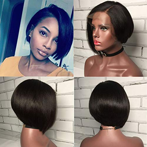 Yaki Straight Glueless Full Lace Human Hair Wigs With Baby Hair 150% Density Brazilian Remy Human Hair Short Bob Wig 6inch (Lace Full Straight)