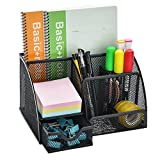 Mesh Desk Organizer Caddy, AGPtEK Office Supplies Set with 6 Compartments & 1 Drawer for School, Study & Work Use, Black