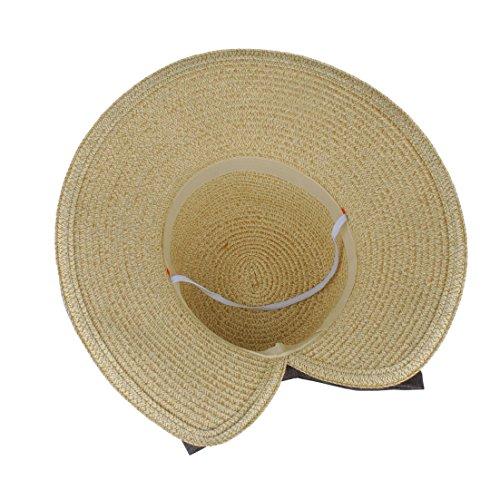 EINSKEY Womens Straw Sun Hat Bowknot Wide Brim Bucket Hat with Neck Cord for Summer Beach Fishing (Dark Beige) by EINSKEY (Image #4)