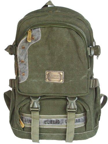 UPC 654367771754, Military Inspired Backpack Bookbag Olive Drab Canvas