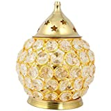 Mini Jini Crystal Akhand Diya | Decorative Brass Oil lamp Tea Light Holder Oval Shape Lantern for Pooja and Collectible in India