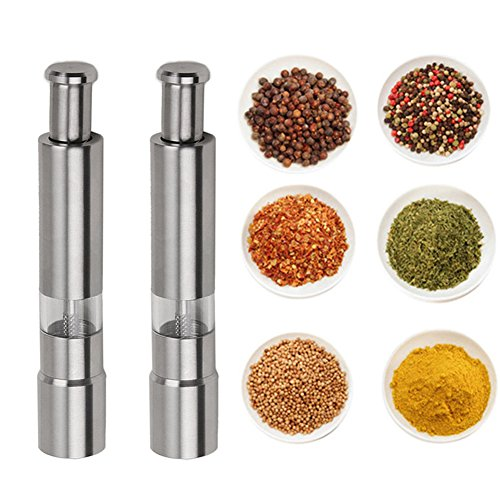 Yamde 2 Pcs Spring Action Stainless Steel Pepper Grinder Salt Mill,6-Inch