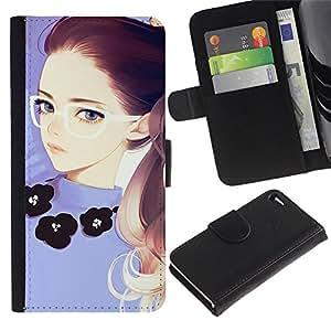 Vaciar la caja de la cubierta dhandy protección de la carpeta/TaiTech - chica Redhead púrpura del marco de Smart Apple iphone 4/4S --