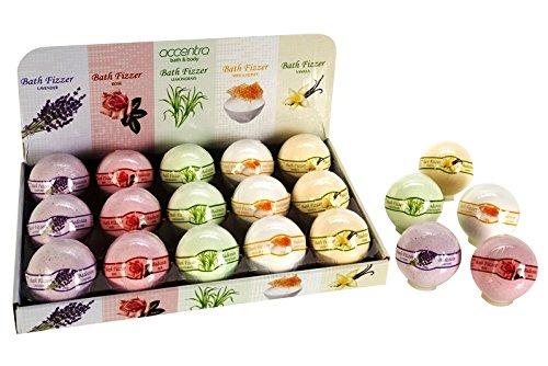 Badekugel 180g, 5 Düfte/Farben sortiert: Lavendel/lila, Rose/rosa, Zitronengras/grün, Milch & Honig/weiß, Vanille/creme