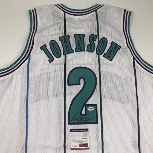 (Autographed/Signed Larry Johnson Charlotte White Basketball Jersey PSA/DNA COA )