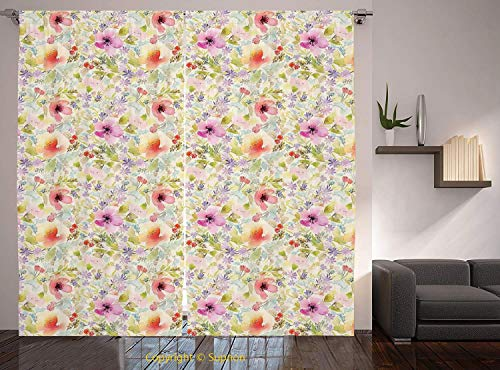 Living Room Bedroom Window Drapes/Rod Pocket Curtain Panel Satin Curtains/2 Curtain Panels/108 x 90 Inch/Flower House Decor,Nostalgic Pastel Soft Colored Different Type Cute Floral Set Spring Hope Lea