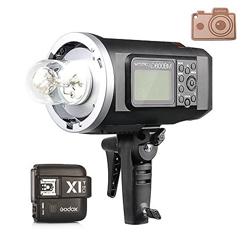 Godox HSS AD600BM Bowens Mount 600Ws GN87 High Speed Sync Outdoor Flash Strobe Light with X1T-C X1C Wireless Flash Trigger, 8700mAh Battery Pack to Provide 500 Full Power Flashes for Canon Bowens Flashtube