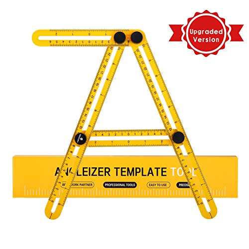 IDAODAN Angle-Izer Template Tool, Easy Angle Ruler - Multi Angle Measuring Tool with Unique Laser Etched Line - Ultimate Angleizer Tile & Flooring Template Tool (Laminate Flooring Tile)