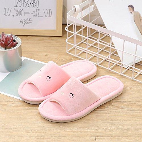 Fankou soggiorno confortevole e rilassante piano anti-raffreddare gli amanti della moda caldo pantofole ,42-43, rosa Smiley face bird