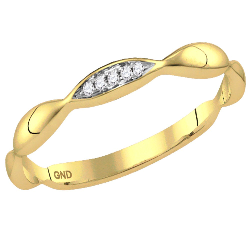 10KT Yellow Gold Round Diamond Contour Stackable Band Ring .02 Cttw