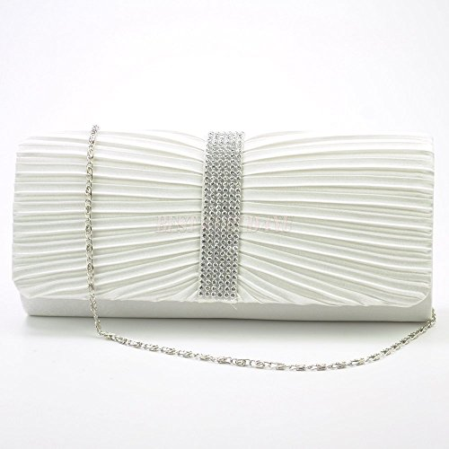 TM Pleated Bridal Wocharm Ivory Prom Satin Diamante Wedding Handbag Womens Ladies Clutch Bag RXwdq