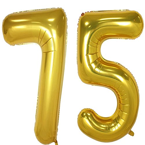 40inch Gold Foil 75 Helium Jumbo Digital Number Balloons, 75th Birthday Decoration for Girls or Boys, sweet 75 Birthday Party Supplies -