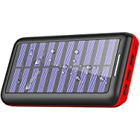 Solar Charger Portable Charger 24000mAh PLOCHY Power Bank Fast Charging External Battery Backup 3-Port output USB &Dual input for All Cell/Smart Phone Tablet,IPhone,IPad, Galaxy,Android & More