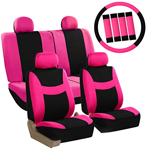 FH GROUP Stylish Cloth (Airbag & Split Ready) Full Set Car Seat Covers Combo-FH2033 Steering Wheel Cover & Seat Belt pads, Pink / Black- Fit Most Car, Truck, Suv, or Van (Seat Combo Covers)