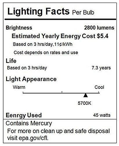 Neewer Tri-phosphor CFL Daylight Balanced Bulb with 5500K 45Watt E27 for Photography and Video Studio Lighting