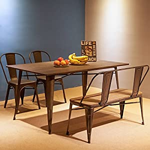 Merax Stylish Distressed Dining Table Bench with Wooden Seat Panel and Metal Backrest & Legs