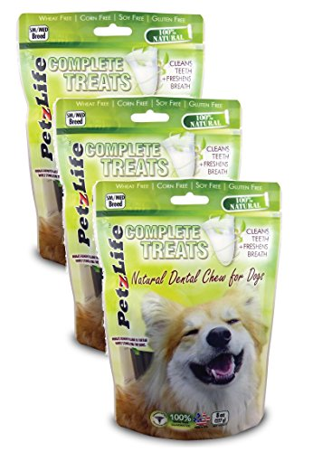 3 Pack! PetzLife Complete Treats: Natural Dental Chews for Dogs, 8 oz (Sm/Med Breed)