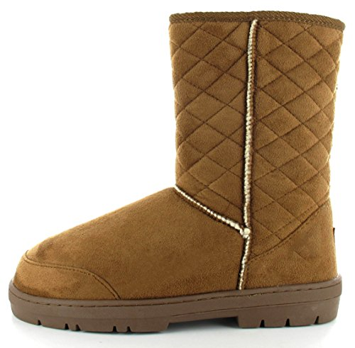 lined Ella Chestnut Boots Womens Snow quilted Fur Classic Perth Winter Rain qxxTtFOw