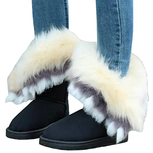 HooH Women's Snow Boots Winter Warm Tassel Faux Fur Boots Thicken Short Boots Black x2YE4GQrsf